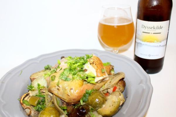 kylling i stegeso, ølkylling, römertopf, halsnæs bryghus, dyssekilde, pilsner, hvedeøl, økologisk kylling
